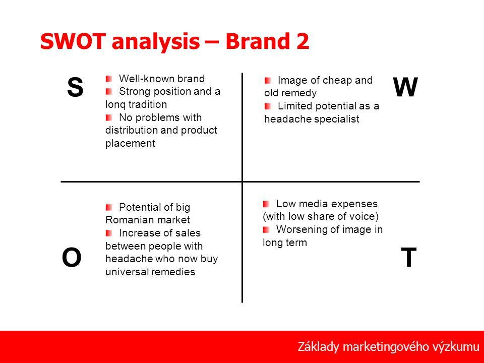 S W O T SWOT analysis – Brand 2 Základy marketingového výzkumu