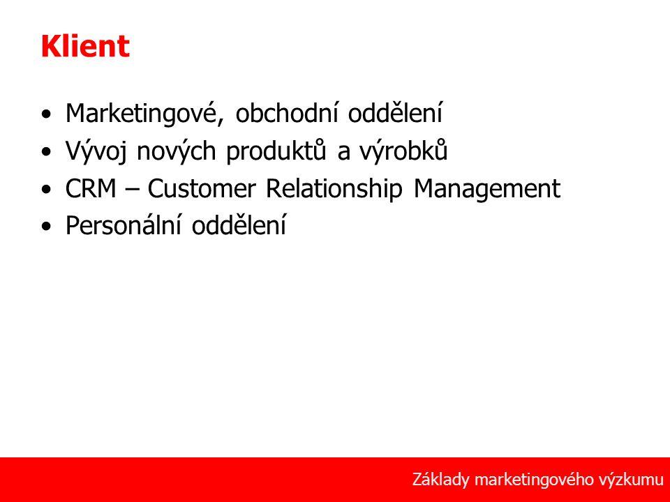 Klient Marketingové, obchodní oddělení Vývoj nových produktů a výrobků
