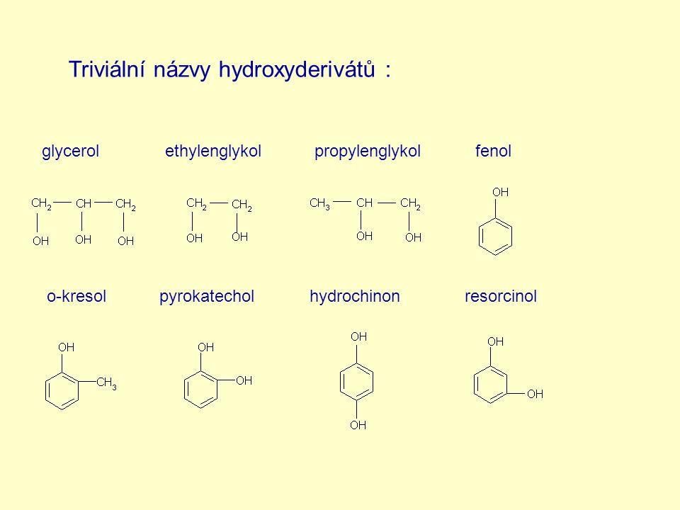 Triviální názvy hydroxyderivátů :