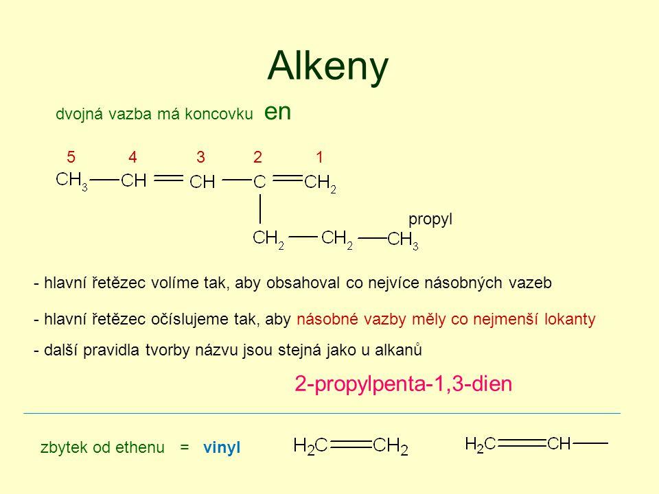 Alkeny 2-propylpenta-1,3-dien dvojná vazba má koncovku en 5 4 3 2 1