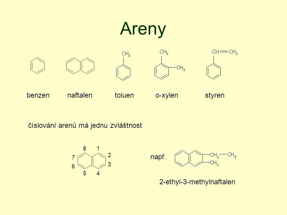 Areny benzen naftalen toluen o-xylen styren