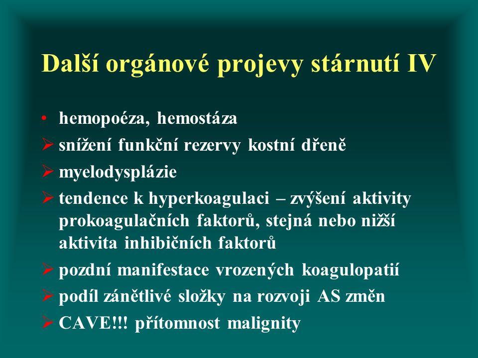 Další orgánové projevy stárnutí IV