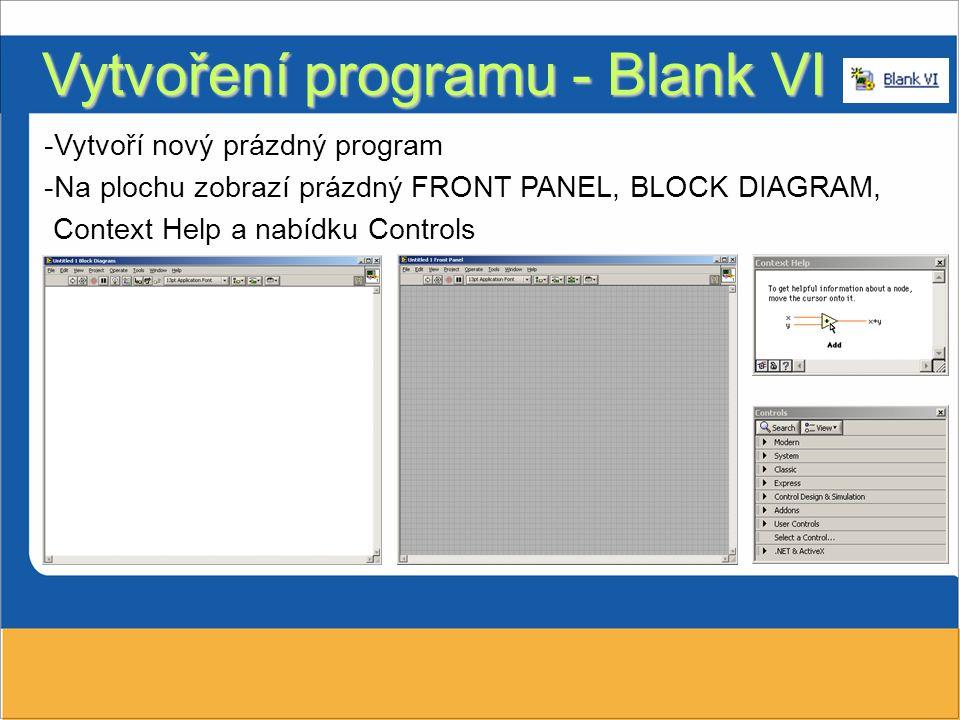 Vytvoření programu - Blank VI