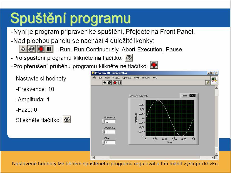 Spuštění programu Nyní je program připraven ke spuštění. Přejděte na Front Panel. Nad plochou panelu se nachází 4 důležité ikonky: