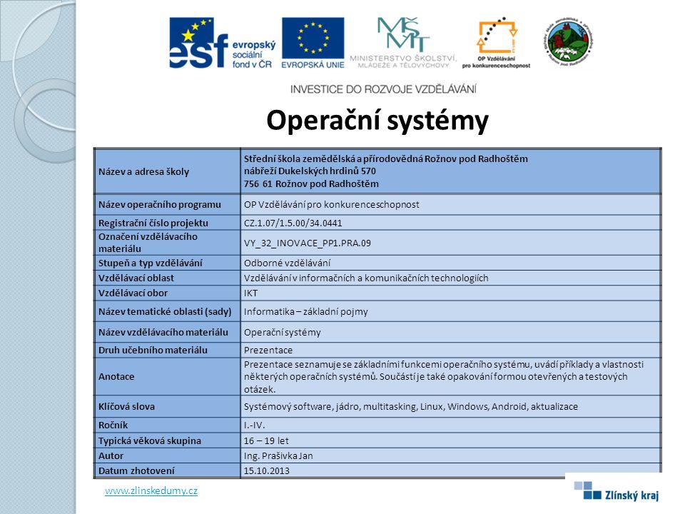 Operační systémy www.zlinskedumy.cz Název a adresa školy