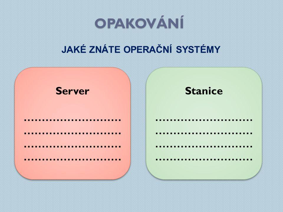 opakování Server ……………………………………………… ……………………………………………… Stanice