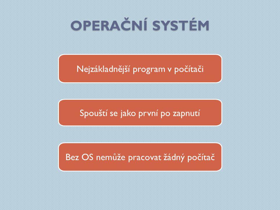 Operační systém Nejzákladnější program v počítači