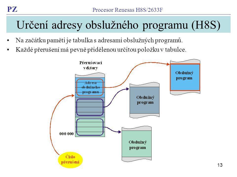 Určení adresy obslužného programu (H8S)