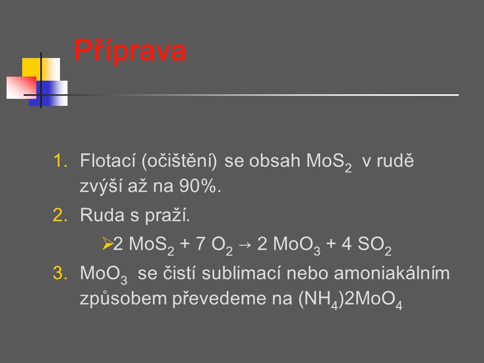 Příprava Flotací (očištění) se obsah MoS2 v rudě zvýší až na 90%.