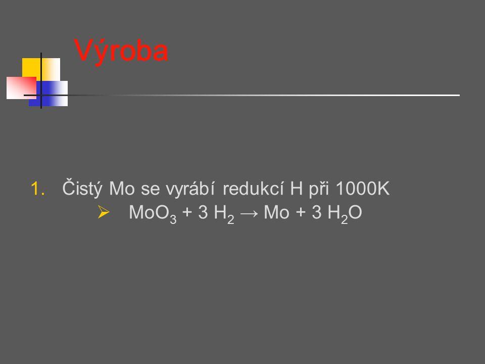 Výroba Čistý Mo se vyrábí redukcí H při 1000K MoO3 + 3 H2 → Mo + 3 H2O