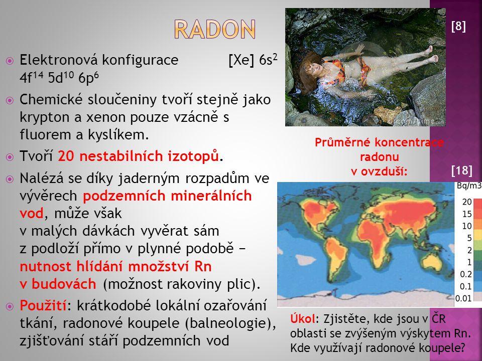 Průměrné koncentrace radonu