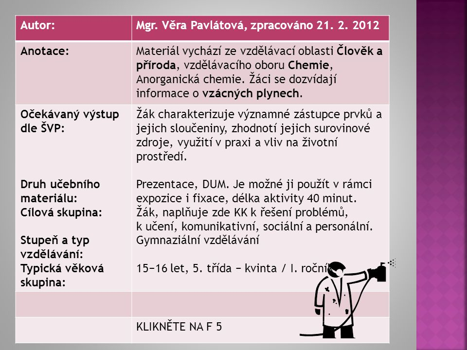 Autor: Mgr. Věra Pavlátová, zpracováno 21. 2. 2012. Anotace: