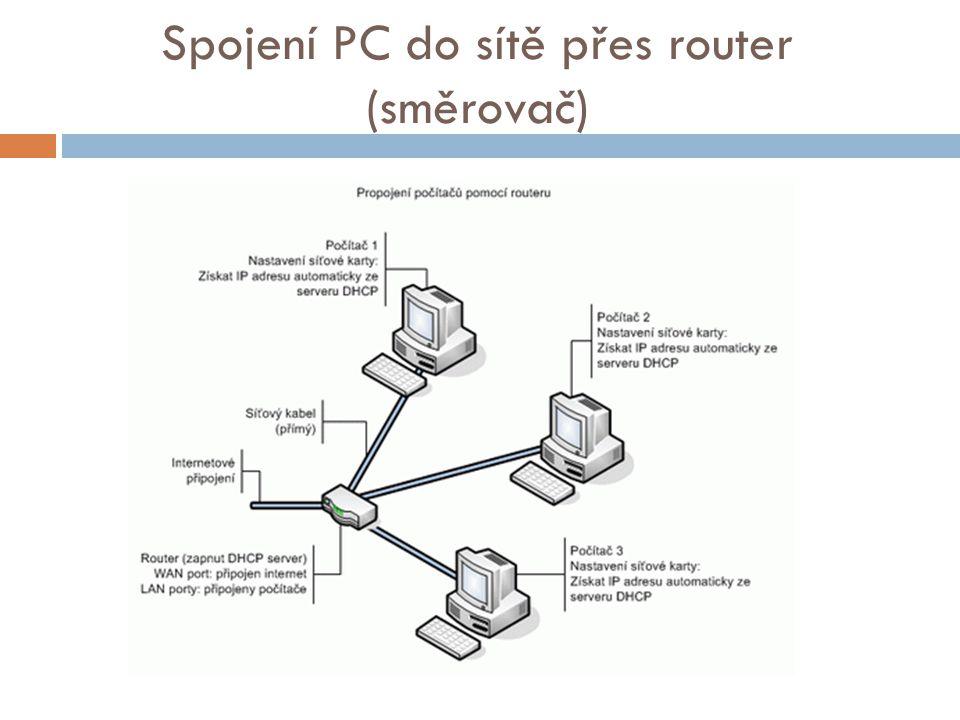 Spojení PC do sítě přes router (směrovač)