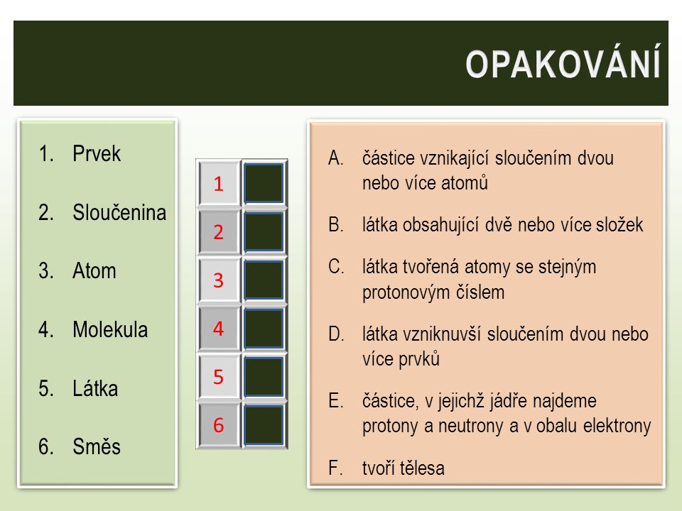 OPAKOVÁNÍ Prvek Sloučenina Atom Molekula Látka Směs 1 C 2 D 3 E 4 A 5
