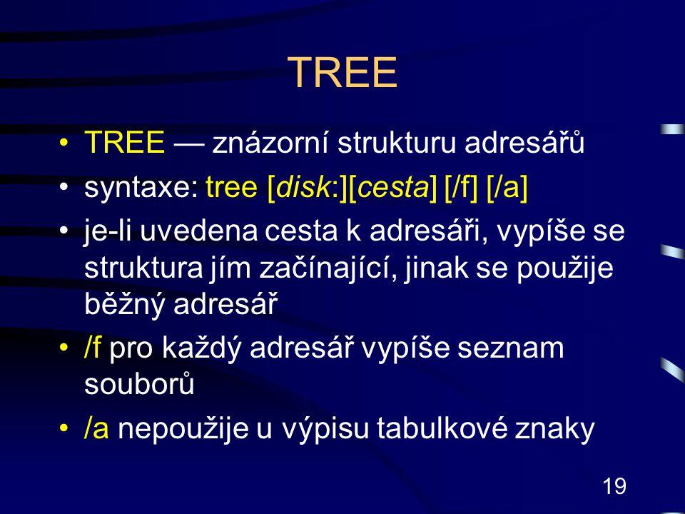 TREE TREE — znázorní strukturu adresářů