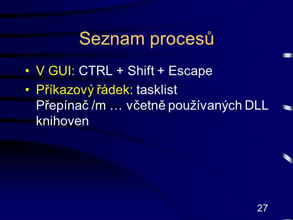 Seznam procesů V GUI: CTRL + Shift + Escape