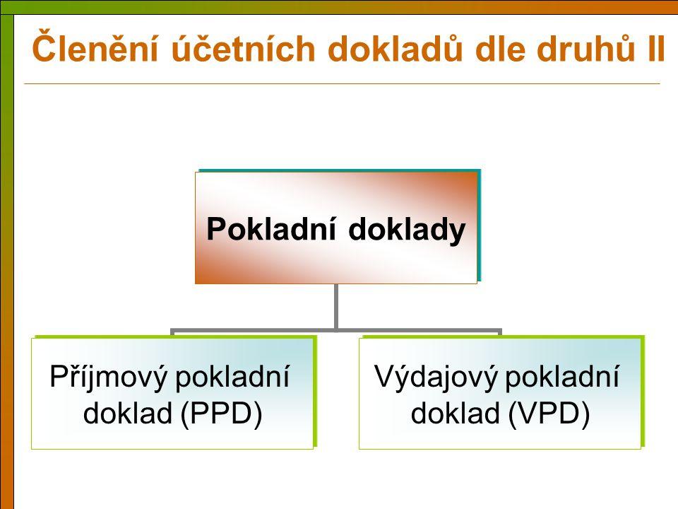 Členění účetních dokladů dle druhů II
