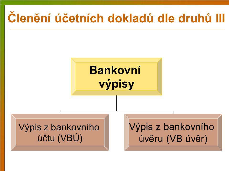 Členění účetních dokladů dle druhů III