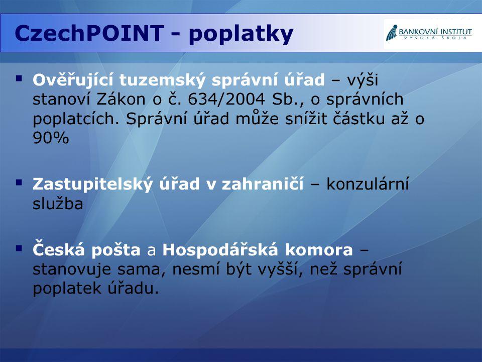 CzechPOINT - poplatky