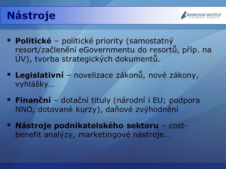 Nástroje Politické – politické priority (samostatný resort/začlenění eGovernmentu do resortů, příp. na ÚV), tvorba strategických dokumentů.