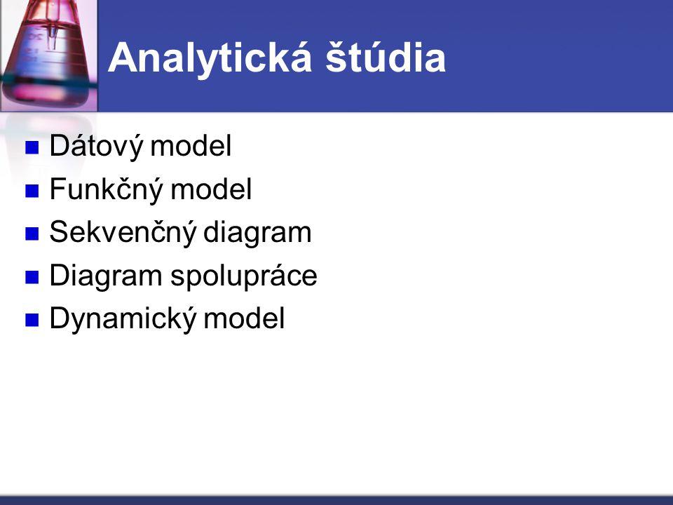 Analytická štúdia Dátový model Funkčný model Sekvenčný diagram
