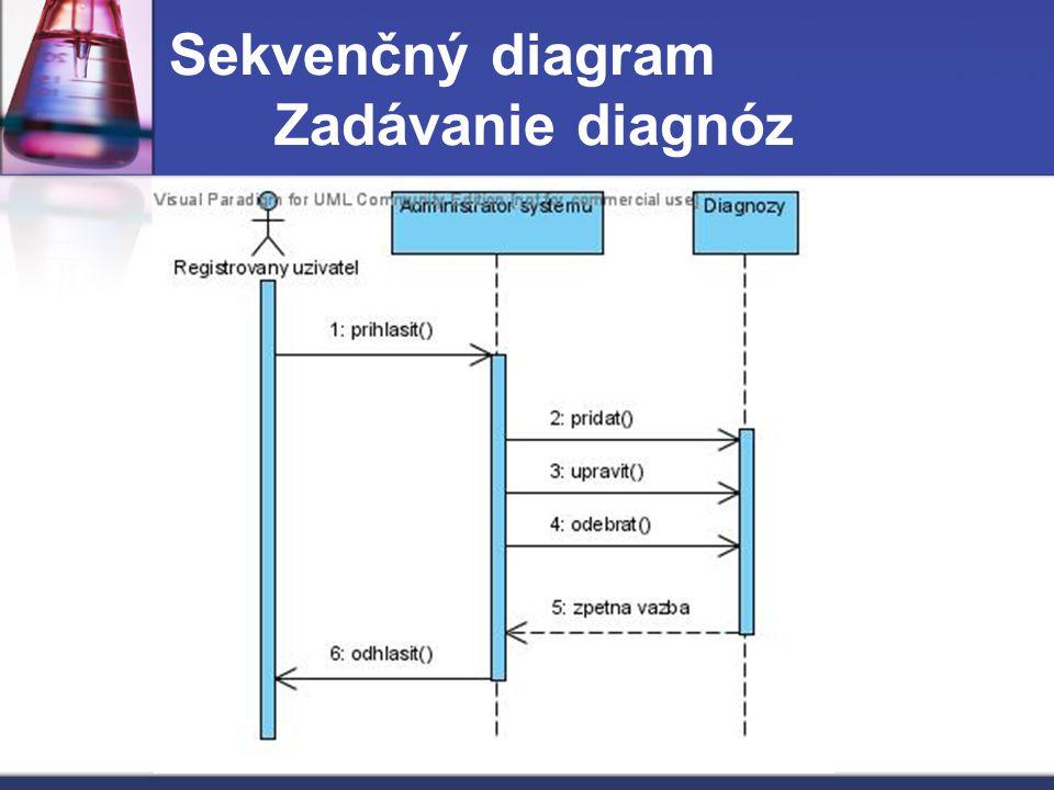 Sekvenčný diagram Zadávanie diagnóz