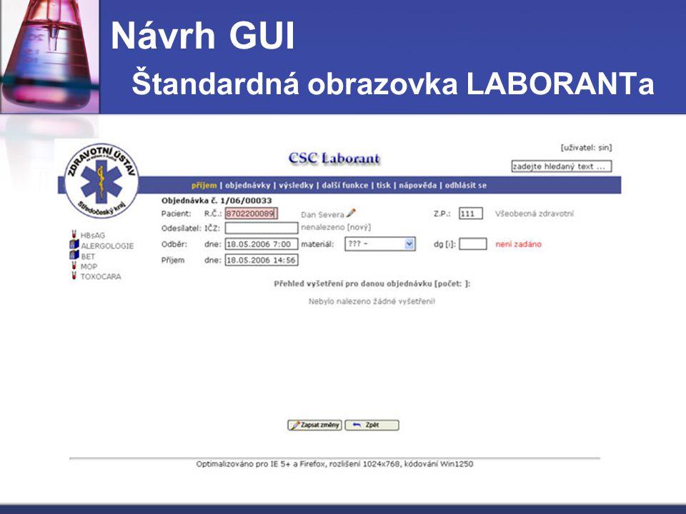 Návrh GUI Štandardná obrazovka LABORANTa