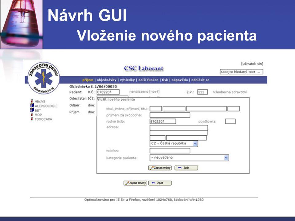 Návrh GUI Vloženie nového pacienta