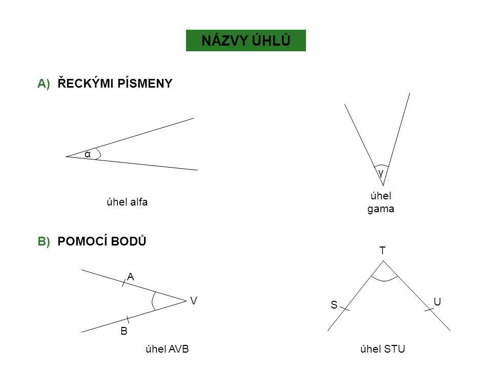 NÁZVY ÚHLŮ A) ŘECKÝMI PÍSMENY B) POMOCÍ BODŮ α γ úhel alfa úhel gama T