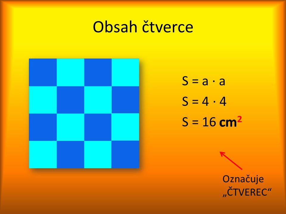 """Obsah čtverce S = a ∙ a S = 4 ∙ 4 S = 16 cm2 cm2 Označuje """"ČTVEREC"""