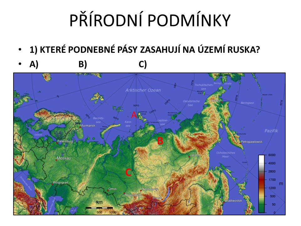 PŘÍRODNÍ PODMÍNKY B C 1) KTERÉ PODNEBNÉ PÁSY ZASAHUJÍ NA ÚZEMÍ RUSKA