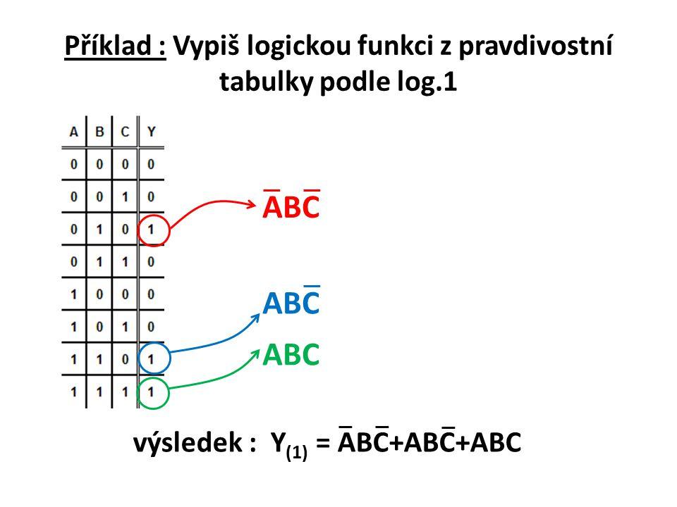 Příklad : Vypiš logickou funkci z pravdivostní tabulky podle log.1
