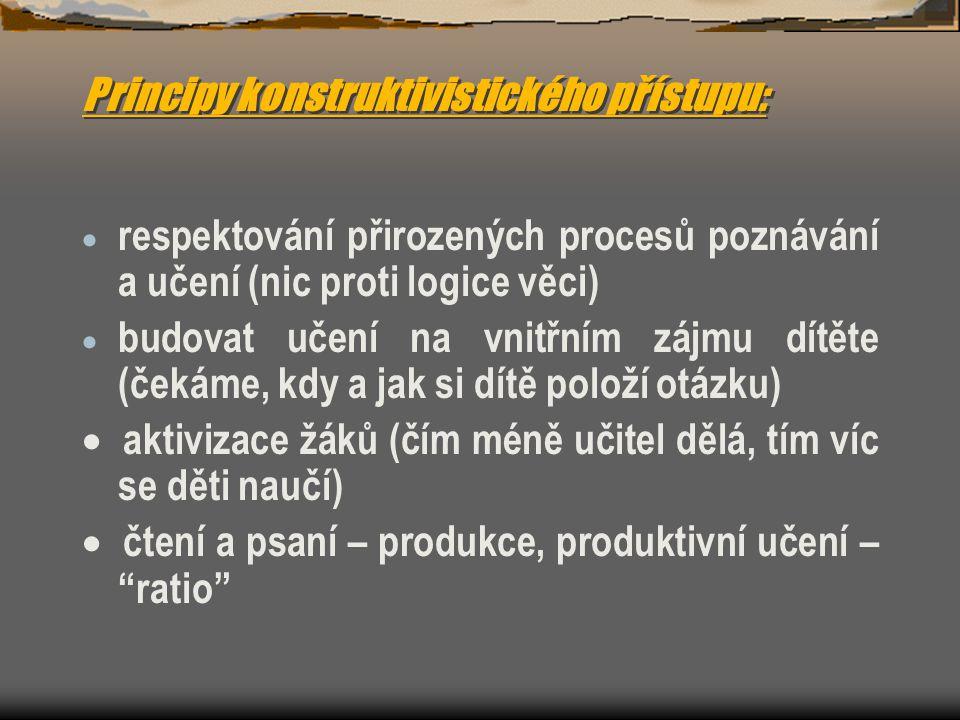 Principy konstruktivistického přístupu: