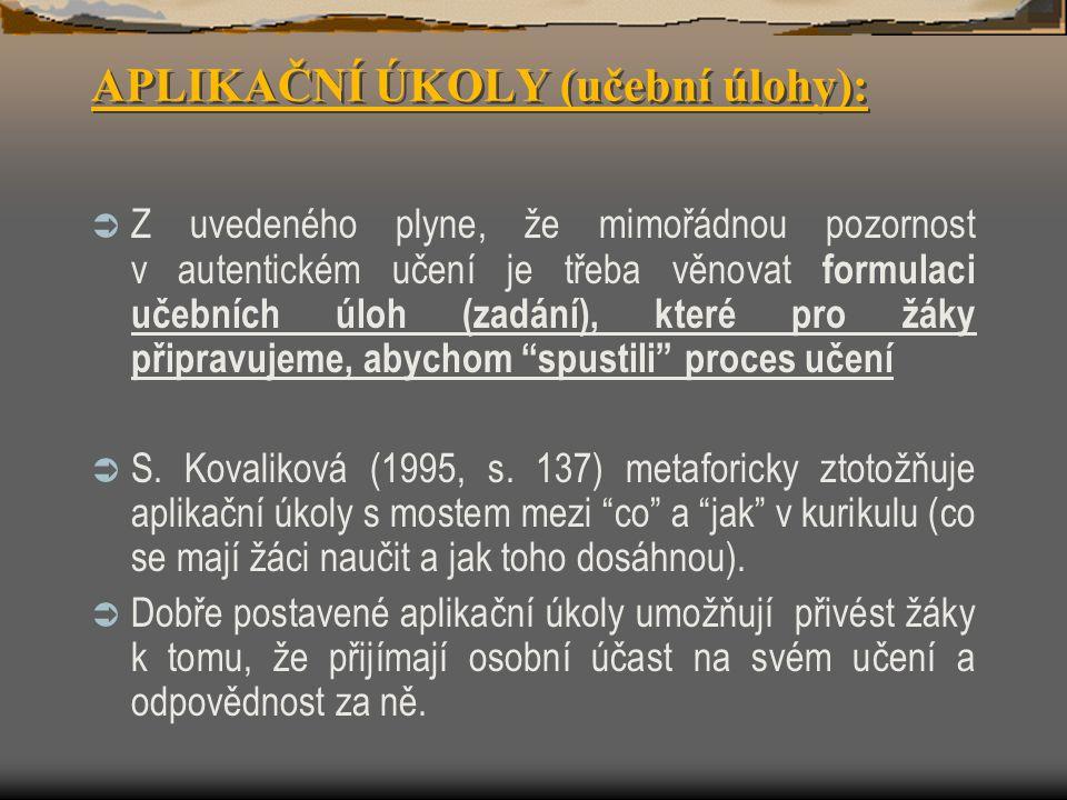 APLIKAČNÍ ÚKOLY (učební úlohy):