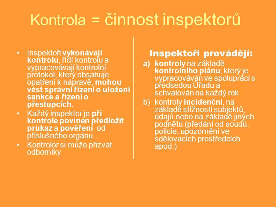 Kontrola = činnost inspektorů