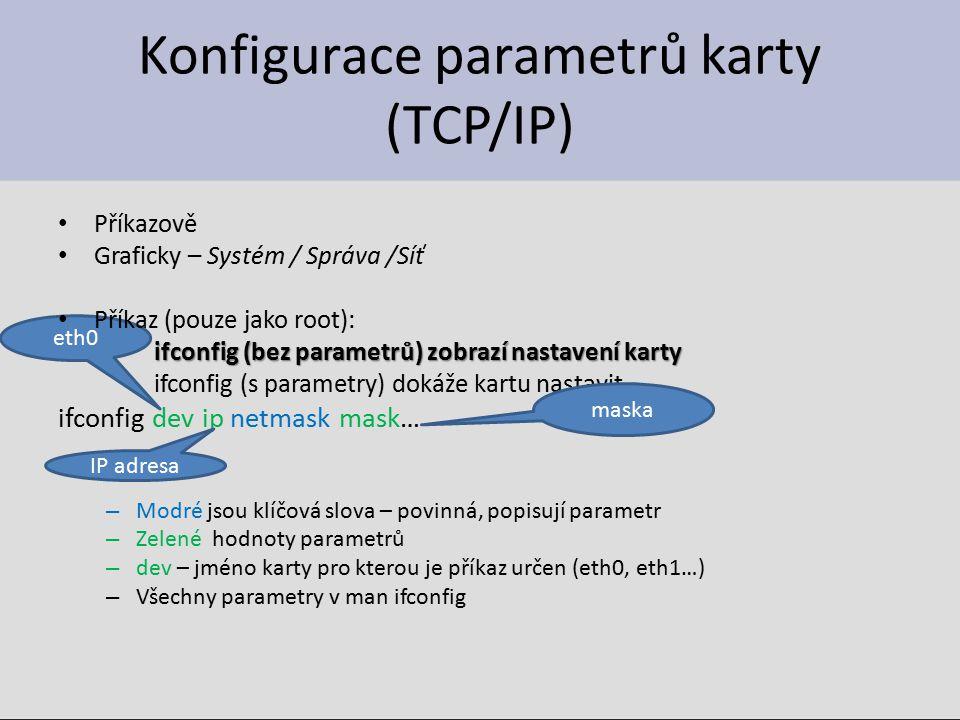 Konfigurace parametrů karty (TCP/IP)