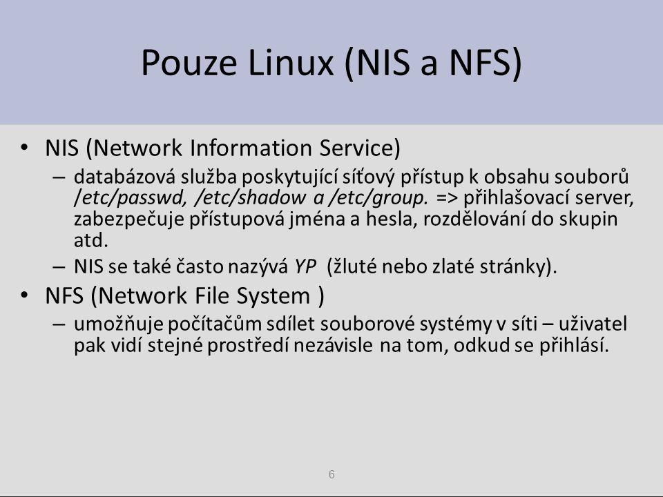 Pouze Linux (NIS a NFS) NIS (Network Information Service)