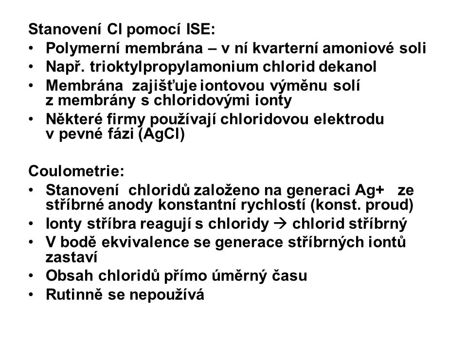 Stanovení Cl pomocí ISE: