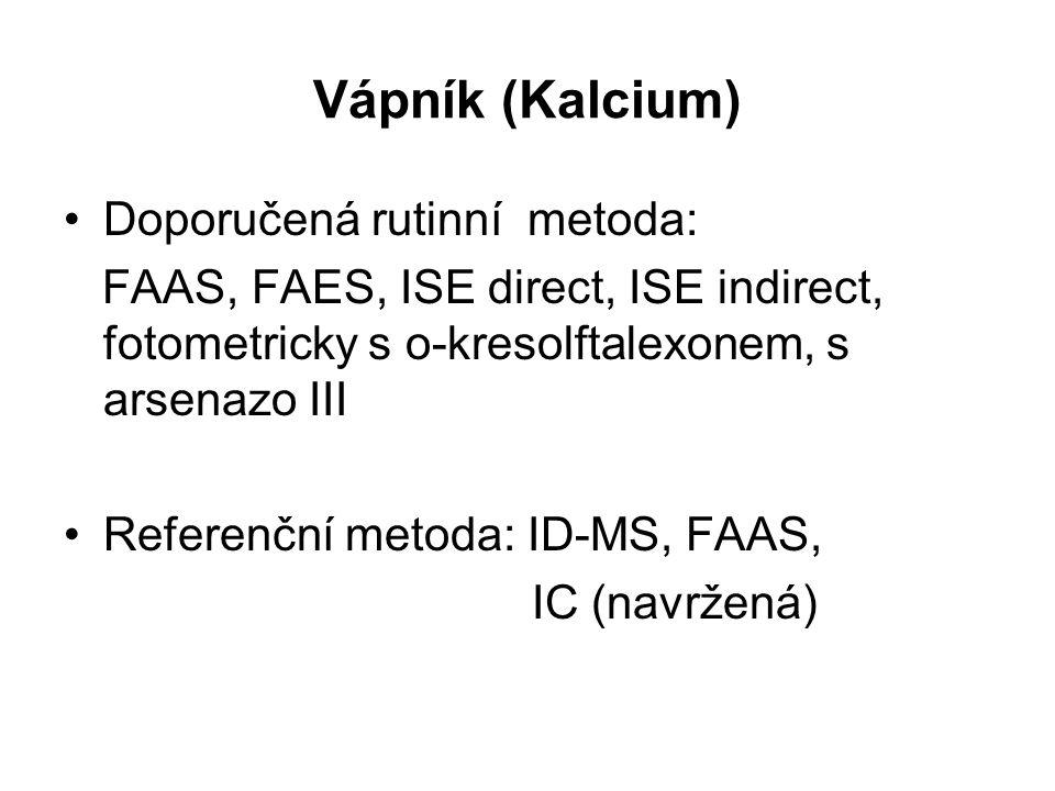 Vápník (Kalcium) Doporučená rutinní metoda: