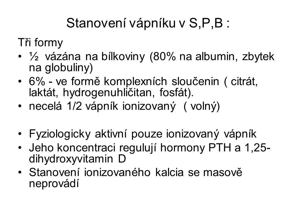 Stanovení vápníku v S,P,B :