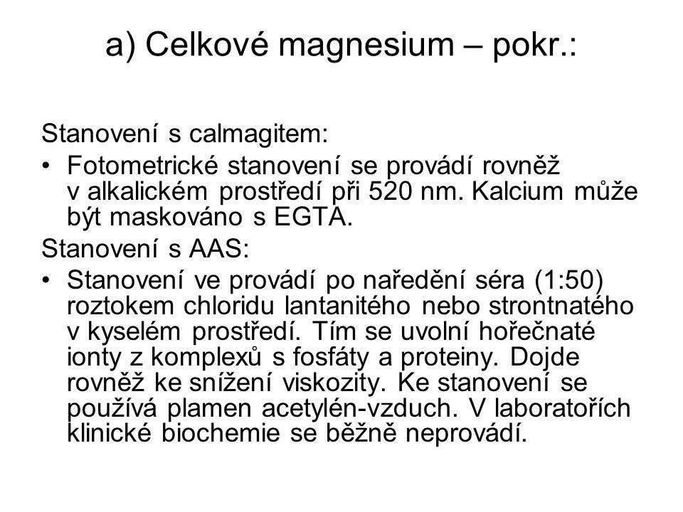 a) Celkové magnesium – pokr.: