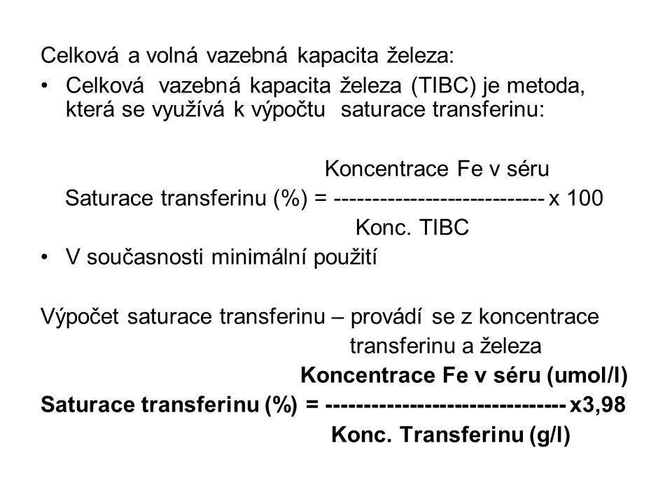 Celková a volná vazebná kapacita železa: