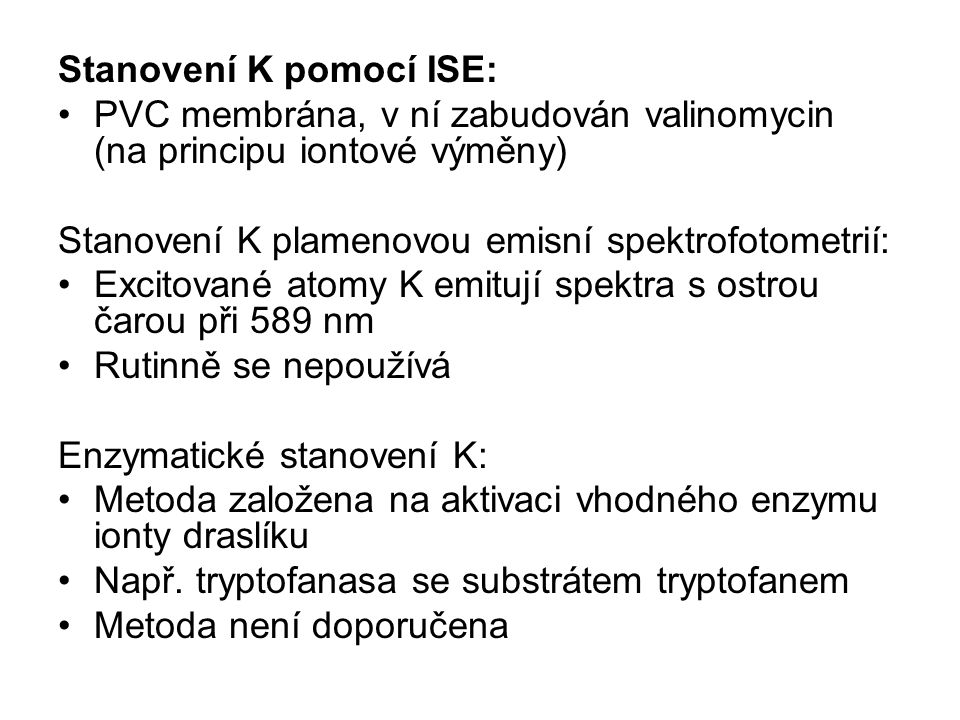 Stanovení K pomocí ISE: