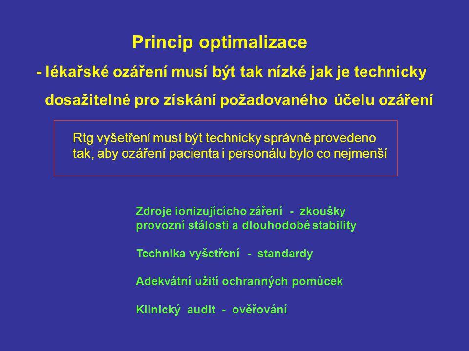 Princip optimalizace - lékařské ozáření musí být tak nízké jak je technicky. dosažitelné pro získání požadovaného účelu ozáření.