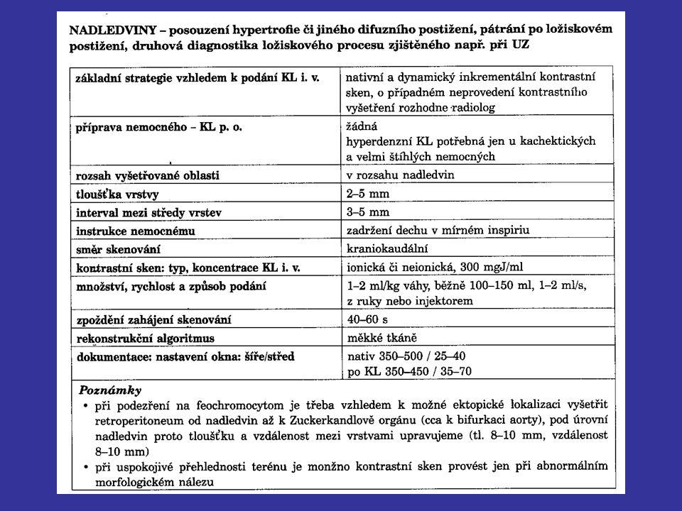 Ukázka protokolu pro CT vyšetření nadledvin z citované publikace.