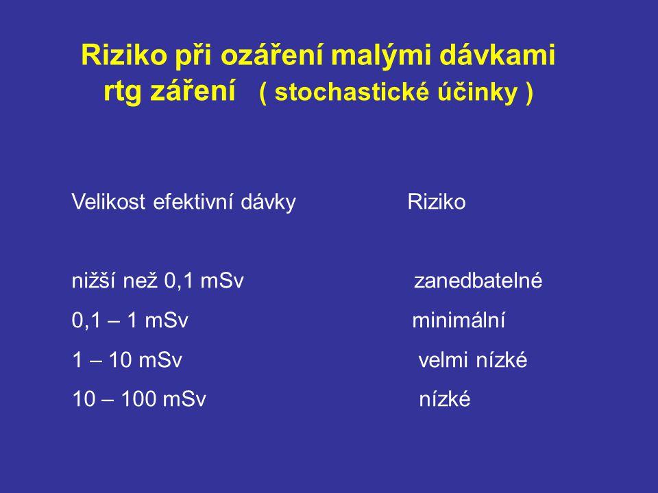 Riziko při ozáření malými dávkami rtg záření ( stochastické účinky )