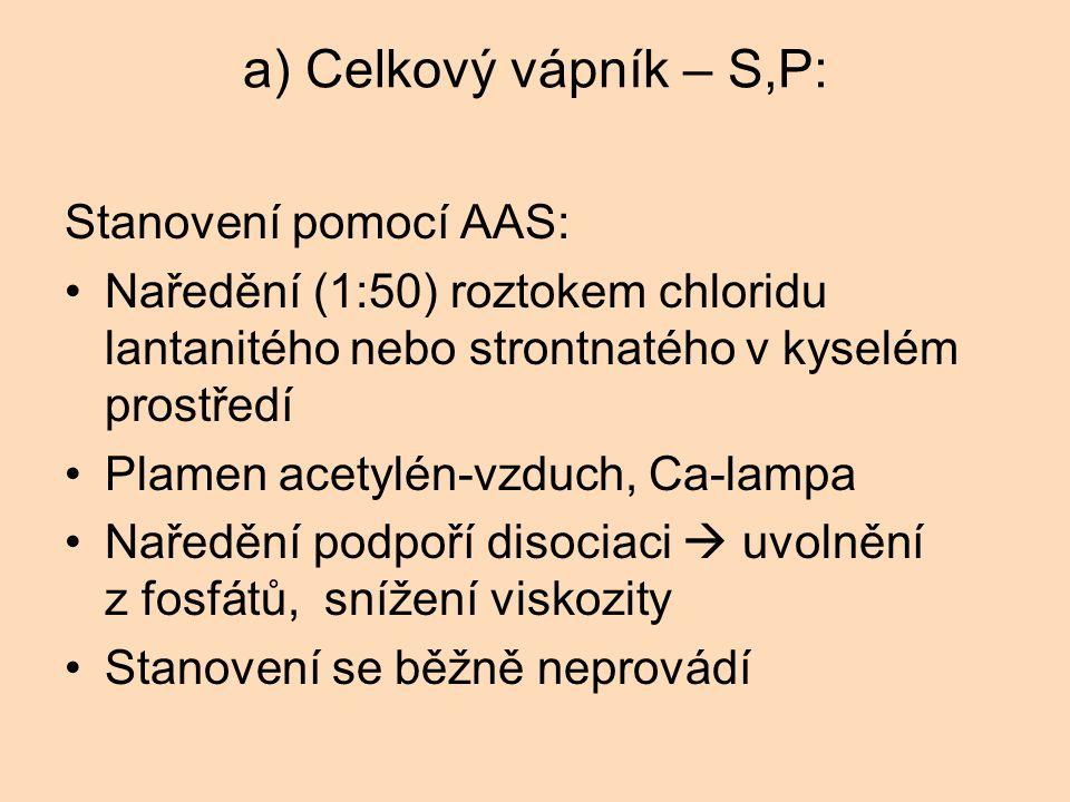 a) Celkový vápník – S,P: Stanovení pomocí AAS: