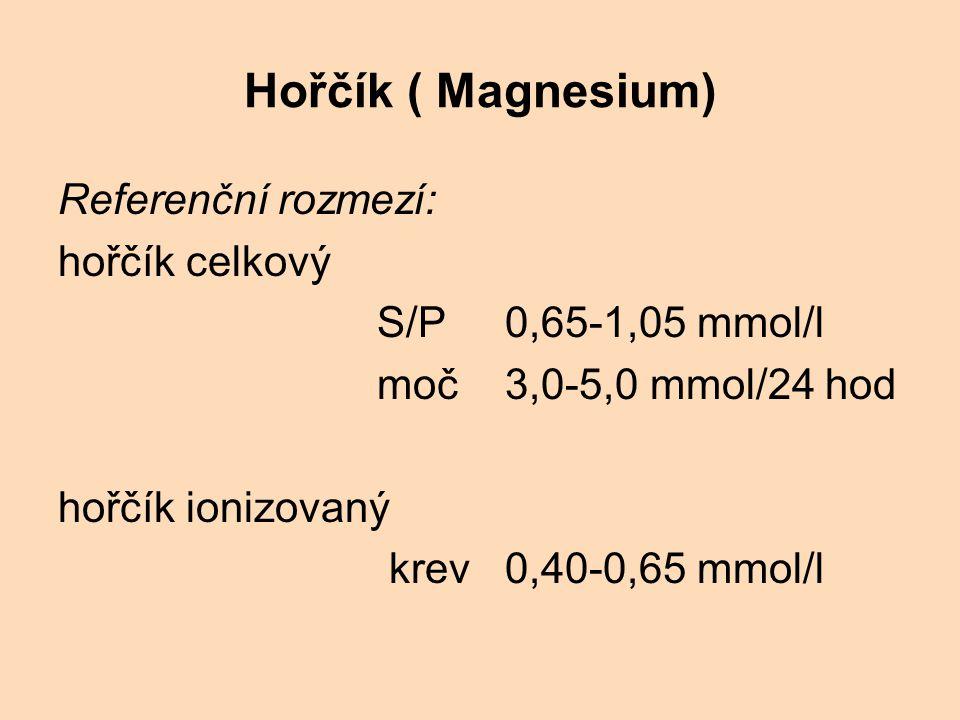 Hořčík ( Magnesium) Referenční rozmezí: hořčík celkový