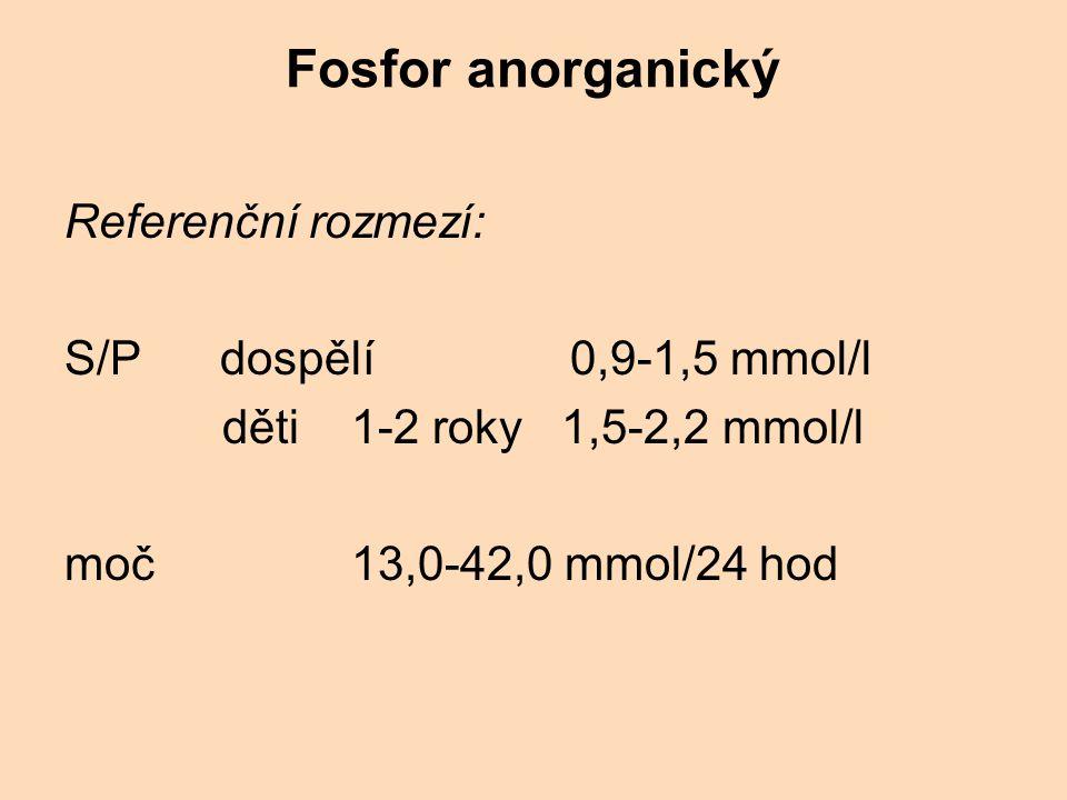 Fosfor anorganický Referenční rozmezí: S/P dospělí 0,9-1,5 mmol/l
