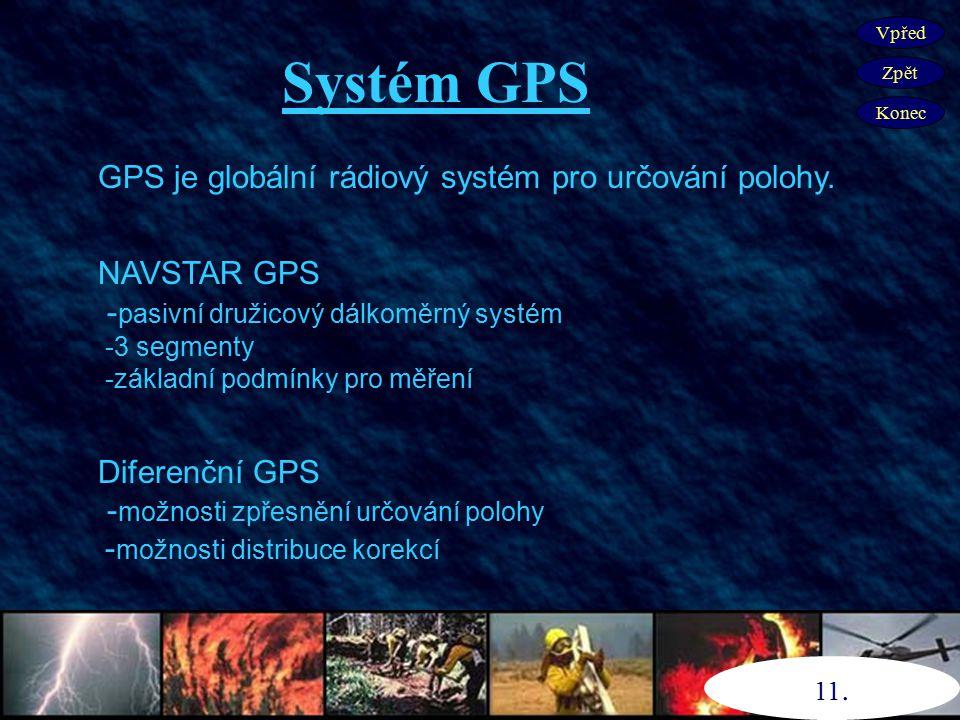 Systém GPS GPS je globální rádiový systém pro určování polohy.